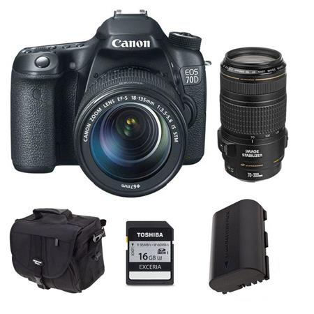 Canon EOS 70D Digital SLR Camera with EF-S 18-135mm F3.5-5.6 IS STM Lens, Black, USA - Bundle - with EF 70-300mm f/4-5.6 IS USM AF Lens, USA