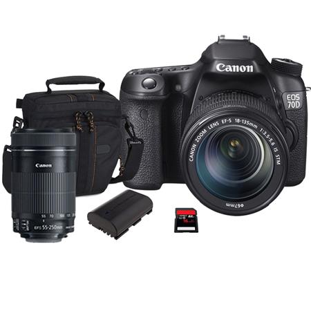 Canon EOS 70D Digital SLR Camera with EF-S 18-135mm F3.5-5.6 IS STM Lens, Black , USA - Bundle - with Canon EF-S 55-250mm f/4-5.6 IS STM Lens