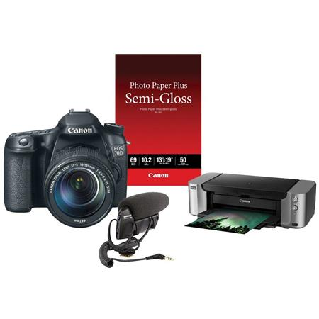 "Canon EOS 70D Digital SLR Camera Body Kit with EF-S 18-135mm F3.5-5.6 IS STM Lens Black - Special Promotional Bundle With Canon PIXMA PRO -100 Pro Photo Inkjet Printer, Canon Photo Paper Plus Semi-Gloss, 13x19"", 50 Sheets, Shure VP83 LensHopper Camera-Mount Condenser Microphone"