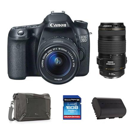Canon EOS 70D Digital SLR Camera with EF-S 18-55mm F3.5-5.6 IS STM Lens, Black - Bundle - with EF 70-300mm f/4-5.6 IS USM AF Lens, USA
