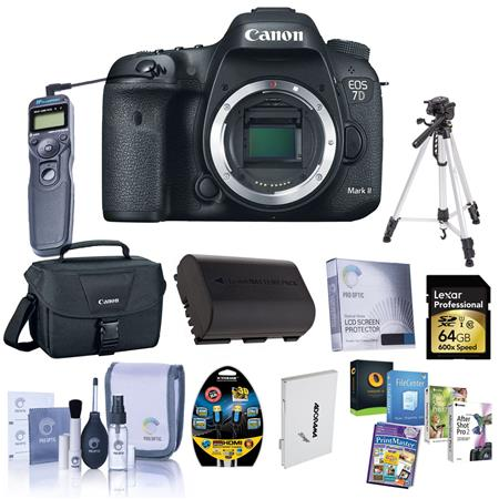 Canon EOS 7D Mark II DSLR Camera Body, 20.2MP, - Bundle With Camera Holster Case, 64GB Class 10 U3 SDxC Card, Spare Battery, New Leaf 3 Year (Drops & Spills) Warranty, Cleaning Kit, Memory Wallet, STV-250N Cable, Screen Protector