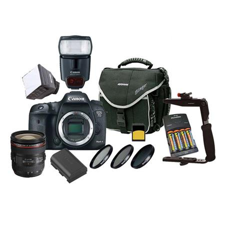 Canon EOS 7D Mark II DSLR Camera Body, Beginner Wedding Bundle With Canon EF 24-70mm f/4L IS USM Lens, Canon Speedlight 430EX, 2x 32GB Class 10 SDHC Card, 77mm Filter Kit , Camera Bag, Spare Battery, Mini Soft Box Diffuser, Flip Flash Bracket, 4 xAA Rechargeable Batt, Screen Protector