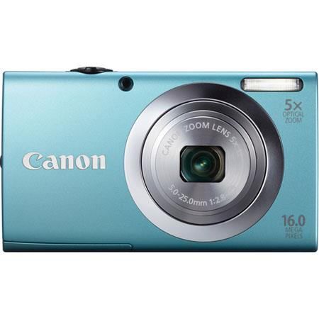 Canon PowerShot A2400 IS Digital Camera, 16.0 Megapixels, 5x Optical Zoom with 28mm Wide Angle, Optical Image Stabilizer, 720p HD Video, Blue