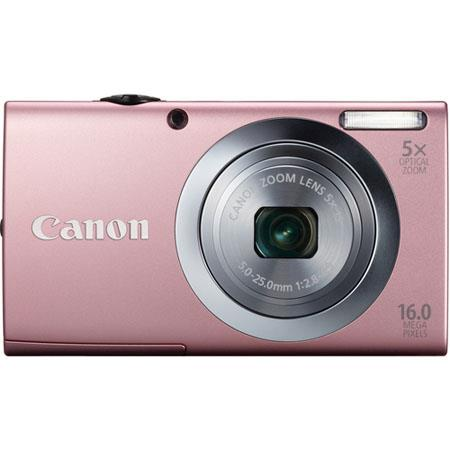 Canon PowerShot A2400 IS Digital Camera, 16.0 Megapixels, 5x Optical Zoom with 28mm Wide Angle, Optical Image Stabilizer, 720p HD Video, Pink