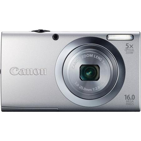 Canon PowerShot A2400 IS Digital Camera, 16.0 Megapixels, 5x Optical Zoom with 28mm Wide Angle, Optical Image Stabilizer, 720p HD Video, Silver