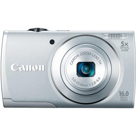 Canon PowerShot A2600 Digital Camera, 16.0 Megapixel, 5x Optical Zoom with 28mm Wide Angle Lens, Digital Image Stabilizer, Smart AUTO, 720p HD Video, Silver