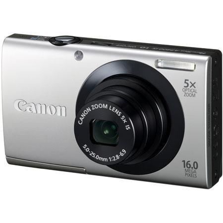 Canon PowerShot A3400 IS Digital Camera, 16.0 Megapixel, 5x Optical Zoom, 28mm Wide Angle Lens, Image Stabilizer, 720p HD Video, Silver