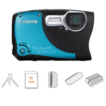 Canon PowerShot D20 Digital Camera Kit - Blue - with 16GB SD Memory Card, Spare NB-6L Type Lithium-ion Battery, Camera Case, Table Top Tripod, USB 2.0 SD Card R