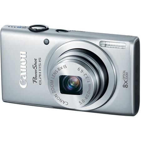 Canon PowerShot ELPH 115 IS Digital Camera, 16 Megapixel, 8x Optical Zoom, Smart AUTO, 720p HD Video, Silver