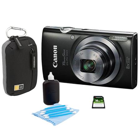 Canon PowerShot ELPH 160 Digital Camera 20MP Black - Bundle With Camera Bag, 16GB Class 10 SDHC Card, Cleaning Kit