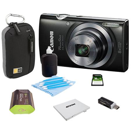Canon PowerShot ELPH 160 Digital Camera 20MP Black - Bundle With Camera Bag, 16GB Class 10 SDHC Card, Spare Battery, Cleaning Kit, Card Reader, Memory Card Case