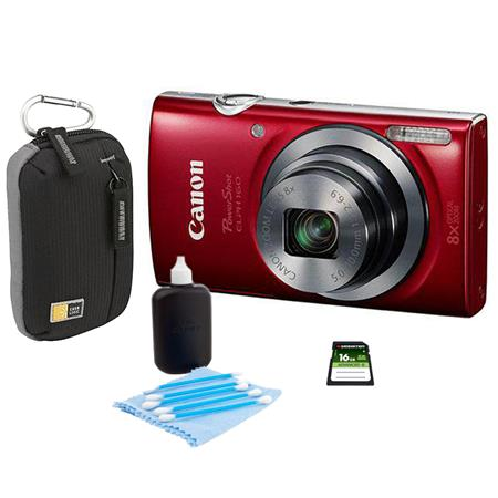 Canon PowerShot ELPH 160 Digital Camera 20MP Red - Bundle With Camera Bag, 16GB Class 10 SDHC Card, Cleaning Kit