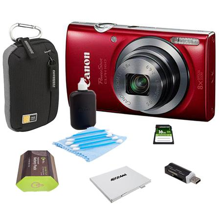 Canon PowerShot ELPH 160 Digital Camera 20MP Red - Bundle With Camera Bag, 16GB Class 10 SDHC Card, Spare Battery, Cleaning Kit, Card Reader, Memory Card Case