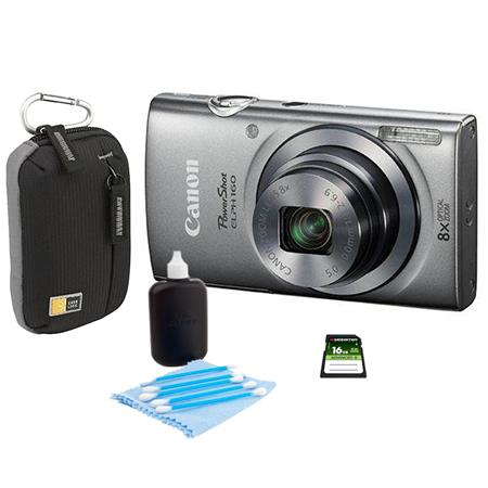 Canon PowerShot ELPH 160 Digital Camera 20MP Silver - Bundle With Camera Bag, 16GB Class 10 SDHC Card, Cleaning Kit
