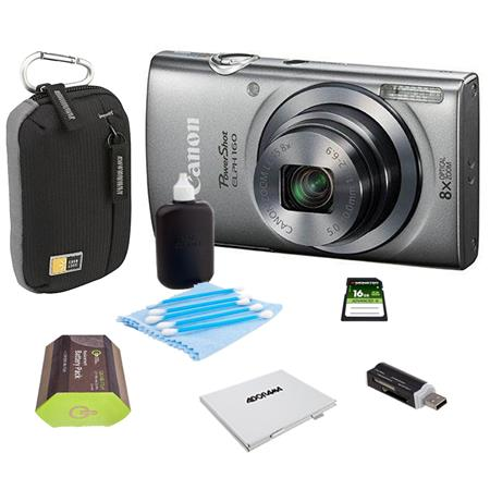 Canon PowerShot ELPH 160 Digital Camera 20MP Silver - Bundle With Camera Bag, 16GB Class 10 SDHC Card, Spare Battery, Cleaning Kit, Card Reader, Memory Card Case