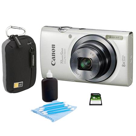 Canon PowerShot ELPH 160 Digital Camera 20MP White - Bundle With Camera Bag, 16GB Class 10 SDHC Card, Cleaning Kit