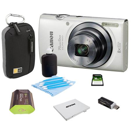 Canon PowerShot ELPH 160 Digital Camera 20MP White - Bundle With Camera Bag, 16GB Class 10 SDHC Card, Spare Battery, Cleaning Kit, Card Reader, Memory Card Case