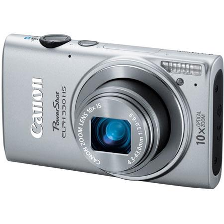 Canon PowerShot ELPH 330 HS Digital Camera, 12.1 Megapixel, WiFi Sharing, 10x Optical Zoom, 1080p HD Video, HDMI, Silver