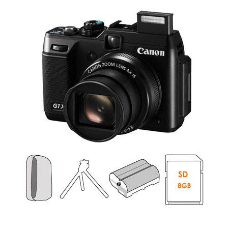 Canon PowerShot G1 X Compact Digital Camera Kit, with FREE 8GB SD Memory Card, Spare NB-10L Type Lithium-ion Battery, Camera Case, Table Top Tripod
