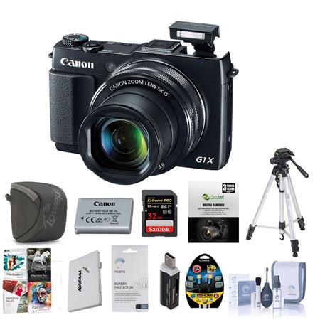 Canon PowerShot G1 X Mark II Digital Camera, 12.8MP, 5x Optical Zoom, - Bundle With 32 GB Class 10 SDHC Card , Camera Case, Spare Battery, New Leaf 3 Years (Drops & Spills) Warranty, Cleaning Kit, Card Reader, Sunpack Tripod, Card Case, Screen Protector,