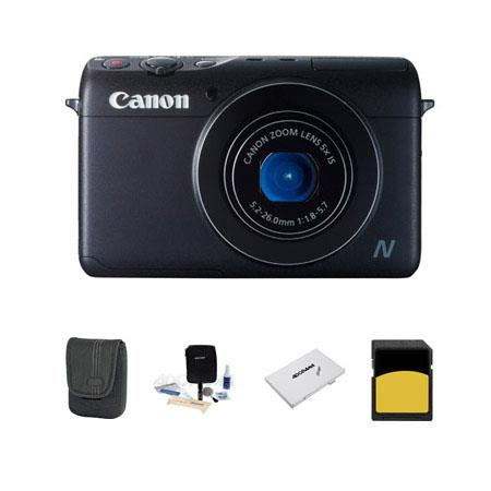 Canon PowerShot N100 Digital Camera, 12.1MP, BLack - Bundle With LowePro Case, 16 GB SDHC Memory Card, Digital Cleaning Kit,