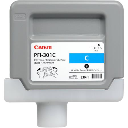 Canon PFI-301C Cyan Ink Tank for the imagePROGRAF iPF8000 and iPF9000 Inkjet Printers, 330 ml.