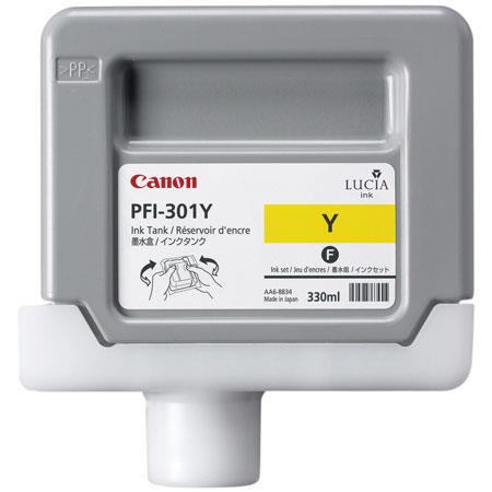 Canon PFI-301Y Yellow Ink Tank for the imagePROGRAF iPF8000 and iPF9000 Inkjet Printers, 330 ml.