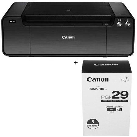 Canon PIXMA PRO-1 Professional Inkjet Printer - Bundle - with PGI-29 Chroma Optimizer Ink Tanks 5 Pack, and SG-201 Photo Paper Plus Semi-Gloss 13x19