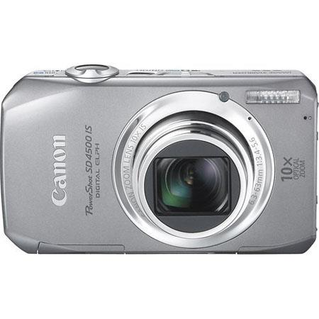 "Canon PowerShot SD4500 IS 10 Megapixel Digital ELPH Camera with 10x Optical Zoom, 4.0x Digital Zoom, 3"" TFT Color LCD Display, Silver"