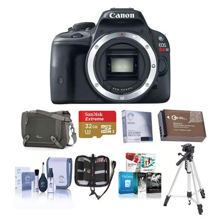 Canon EOS Rebel SL1 Digital SLR Camera Black Body - Bundle - with 16GB SDHC Memory Card, Camera Carrying Case, Newleaf 3 Year Warranty, Lens Cleaning Kit