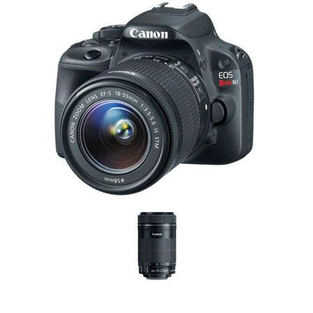 Canon EOS Rebel SL1 DSLR Camera with EF-S 18-55mm IS STM Lens - Bundle - with Canon EF-S 55-250mm f/4-5.6 IS STM Lens