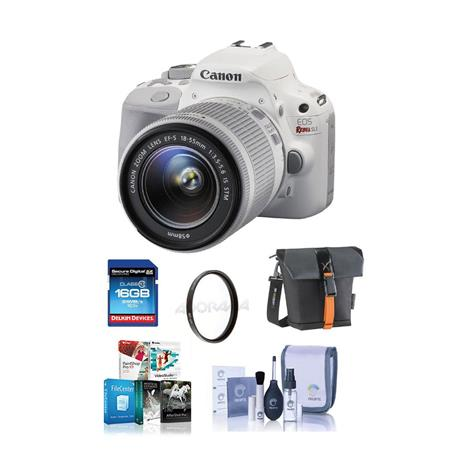 Canon EOS Rebel SL1 DSLR Camera with EF-S 18-55mm f/3.5-5.6 IS STM Lens, White - BUNDLE - with Camera Bag, 16GB Class 10 SDHC Card, Cleaning Kit, 58MM UV Filter, Special Professional Software (Includes Corel PaintShop Pro X7, Corel AfterShot Pro 2, Nuance OnmiPage 18, FileCenter Standard 7)