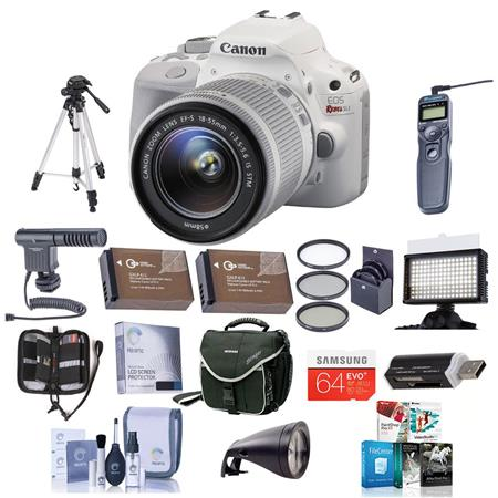 Canon EOS Rebel SL1 DSLR Camera with EF-S 18-55mm f/3.5-5.6 IS STM Lens, White - Bundle With Camera Bag, 32GB Class 10 SDHC Card, Spare LP-E12 Battery, New Leaf 3 Year (Drops & Spills) Warranty, Cleaning Kit, 58MM Filter Kit, Card Case, Aluminum Table Top
