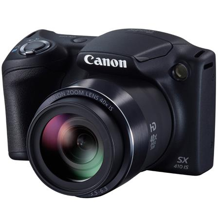 "Canon PowerShot SX410 IS Digital Camera, 20MP, 4.3-172mm f/3.5-6.3 Lens, 40x Optical Zoom, 3"" LCD Display, AV Output/Audio Out/USB 2.0 Connectors, Black"