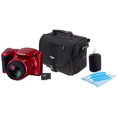 | Canon PowerShot SX410 IS Digital Camera Red   Bundle With Camera Case, 16GB Class 10 SDHC Card, Cleaning Kit