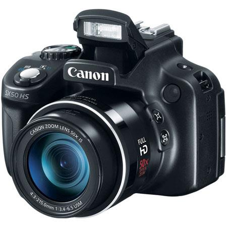 Canon PowerShot SX50 HS Digital Camera, 12.1MP, CMOS Sensor, 50x Optical Zoom, 24-1200mm (35mm Equivalent) Lens, Full HD 1080p Video with Stereo Sound, Black