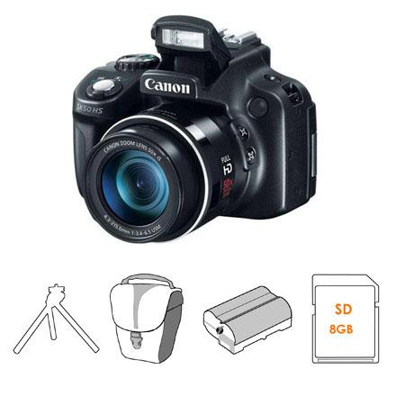 Canon PowerShot SX50 HS Digital Camera, 50x Optical Zoom, 24-1200mm (35mm Equivalent) Lens - Bundle - with 8GB SDHC Class 10 Memory Card, Camera Case , Adorama NB-10L 750mAh Spare Battery, and Adorama Two Section Table Top Tripod