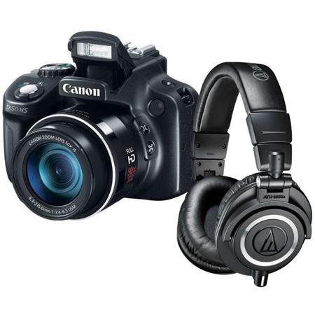 Canon PowerShot SX50 HS Digital Camera, 12.1MP, - Bundle With Audio-Technica ATH-M50x Professional Monitor Headphones, Black