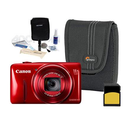 Canon PowerShot SX600 HS Digital Camera, 16MP, RED - Bundle With LowePro Case, 16 GB SDHC Memory Card, Digital Cleaning Kit, SD Card Case