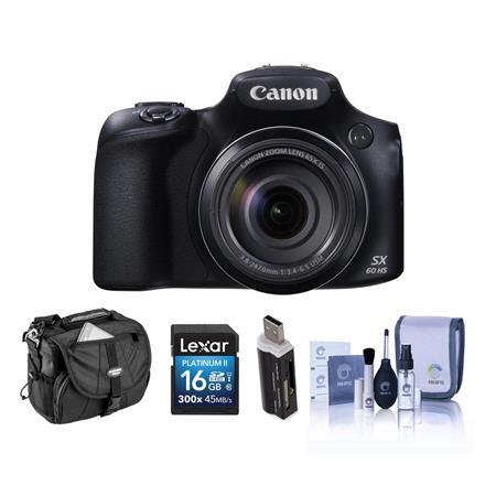 Canon PowerShot SX60 HS Digital Camera, - Bundle With Camera Holster Case, 16GB Class 10 SDHC Card, Cleaning Kit, Card Reader