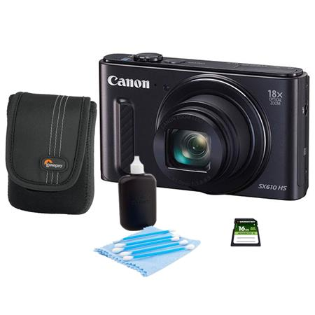 Canon PowerShot SX610 HS Digital Camera 20.2MP Black - Bundle With Camera Case, 16GB Class 10 SDHC Card, Cleaning Kit