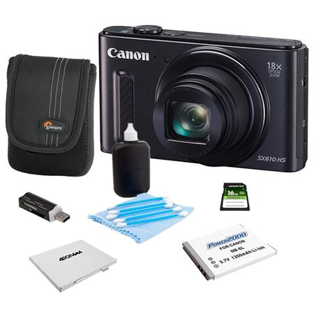Canon PowerShot SX610 HS Digital Camera 20.2MP Black - Bundle With Camera Case, 16GB Class 10 SDHC Card, Spare Battery, Cleaning Kit, Memory Card Holder, Card Reader