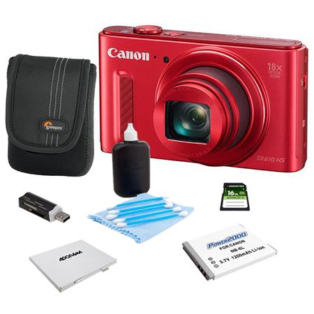 Canon PowerShot SX610 HS Digital Camera 20.2MP RED - Bundle With Camera Case, 16GB Class 10 SDHC Card, Spare Battery, Cleaning Kit, Memory Card Holder, Card Reader