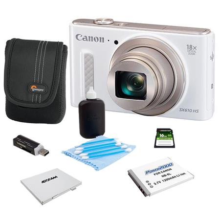 Canon PowerShot SX610 HS Digital Camera 20.2MP White - Bundle With Camera Case, 16GB Class 10 SDHC Card, Spare Battery, Cleaning Kit, Memory Card Holder, Card Reader