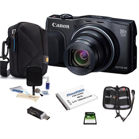 Canon PowerShot SX710 HS Digital Camera, 20.3MP Black - Bundle With Camera Case, 16GB Class 10 SDHC Card, Spare Battery, Cleaning Kit, Memory Wallet, Card Reader