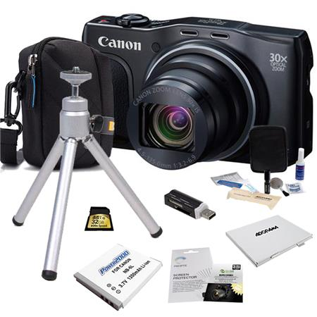 Canon PowerShot SX710 HS Digital Camera, 20.3MP Black - Bundle With Camera Case, 16GB Class 10 SDHC Card, Spare Battery, New Leaf 3 Year (Drops & Spills) Warranty, Cleaning Kit, Memory Wallet, Card Reader, Screen Protector, Table Top Tripod
