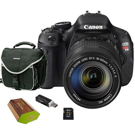 Canon EOS Rebel T3i Digital SLR Camera/ Lens Kit, with EF-S 18-135mm f/3.5-5.6 IS Lens, 8GB SD Memory Card, LowePro Camera Bag, Spare LP-E8 Lithium-Ion Rehargeable Battery, USB 2.0 SD Card Reader
