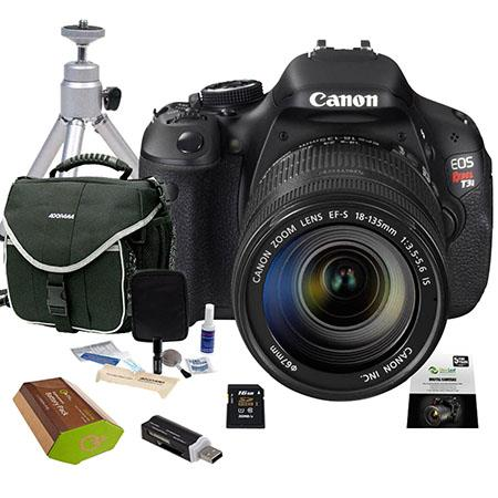 Canon EOS Rebel T3i Digital SLR Camera/ Lens Kit, with EF-S 18-135mm f/3.5-5.6 IS Lens, 16GB SD Memory Card, Camera Bag, Spare LP-E8 Lithium-Ion Rehargeable Battery, New Leaf 3 Year Extended Warranty, Aluminum Table Top Tripod, USB 2.0 SD Card Reader, Dig