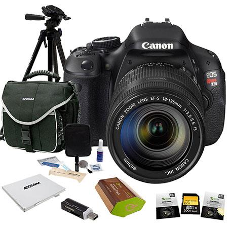 Canon EOS Rebel T3i DSLR Camera/ Lens Kit, with EF-S 18-135mm f/3.5-5.6 IS Lens BUNDLE With 32GB SD Memory Card, LowePro Camera Bag, Spare LP-E8 Battery, New Leaf 3 Year (Spills & Drops) Warranty, USB 2.0 SD Card Reader, Digital Cleaning Kit, Sunpack Trip