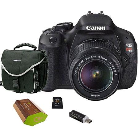 Canon EOS Rebel T3i DSLR Camera/ Lens Kit, with EF-S 18-55mm f/3.5-5.6 IS II Lens, 8GB SD Memory Card, Camera Bag, Spare LP-E8 Lithium-Ion Rehargeable Battery, USB 2.0 SD Card Reader